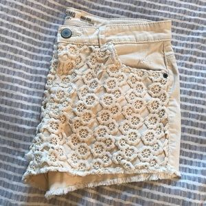 Mossimo Cream Lace High-Waisted Denim Shorts